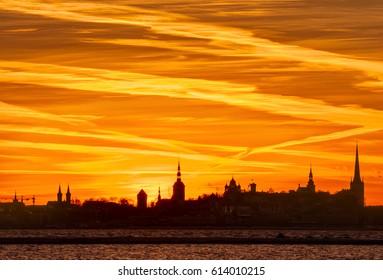 Silhouette of the Old Town. Tallinn. Estonia.