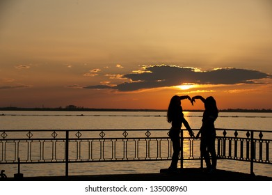 Silhouette with one beautiful heart