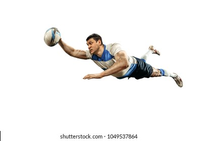 The silhouette of one caucasian rugby man player isolated on white background. Studio shot of fit man in motion or movement with ball. Jump and action concept. an incredible strain of all forces