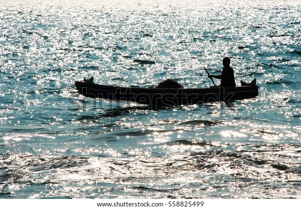 Silhouette One Man Traditional Wooden Boat Stock Photo Edit Now