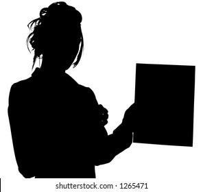 Silhouette over white with clipping path. Woman holding out tablet.