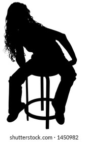 Silhouette over white with clipping path. Beautiful woman sitting on stool.