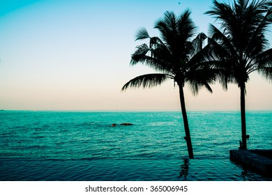 Silhouette palm tree and Beautiful luxury hotel swimming pool at twilight times - Vintage Filter