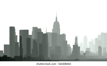 silhouette, panorama, architecture abstract, 3d illustration