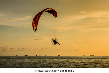 Silhouette of paragliding (vintage color)