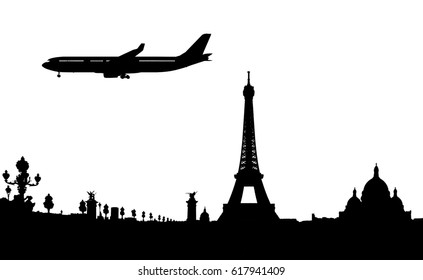 silhouette of paris and plane landing 3d render