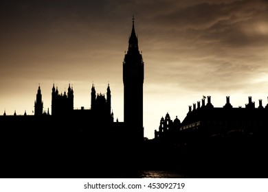 Silhouette of Parliament with Big Ben at sunset, London