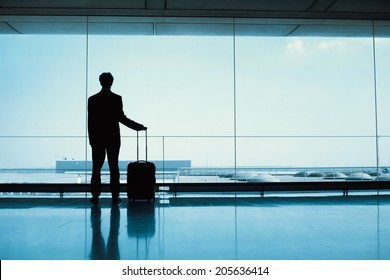 silhouette of passenger waiting in the airport