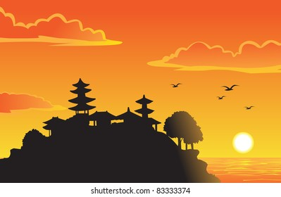 silhouette of peaceful and lovely paradise on the sunset