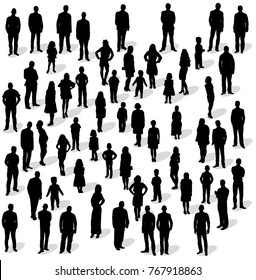 silhouette people group stand, isolated