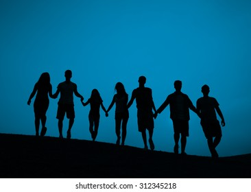 Silhouette People Holding Hands Concept