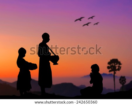 silhouette people put food offerings buddhist stock photo edit now