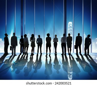 Silhouette People Rear View Cityscape Team Concept