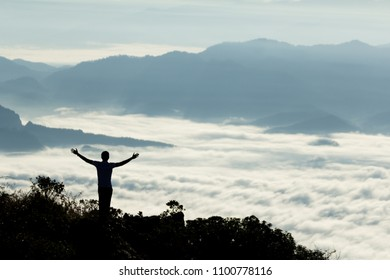 Silhouette of people standing on the mountain., at Doi Luang Chiang Dao Chiang Mai Thailand, silhouette concept