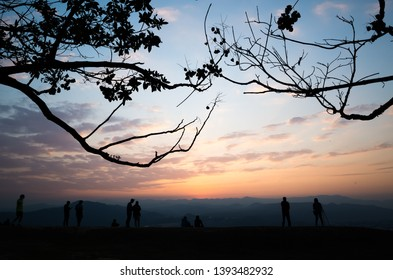 silhouette of people at the top of hill at the Hutou mountain, Puli, Nantou, Taiwan