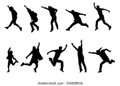 Silhouette of peoples in a different actions isolated on white background.