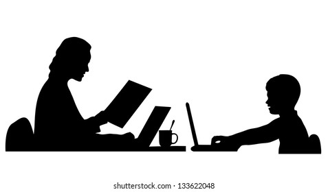 silhouette of the person at the computer