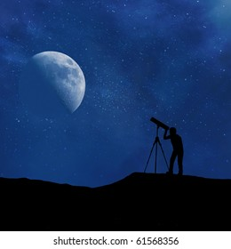 Silhouette of person looking at a stylized digitally created night sky through a stylized digitally created telescope