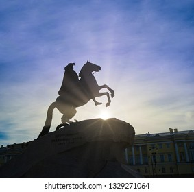 Silhouette of Peter the Great on horseback statue in front of sky in Saint-Petersburg