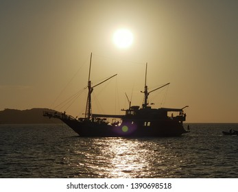 Silhouette of Phinisi Boat at Komodo National Park
