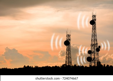 Silhouette phone antenna.silhouette satellite dish telecom network at sunset communication technology network