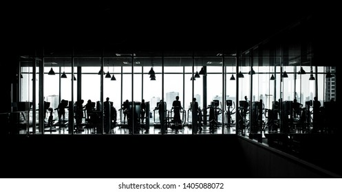 Silhouette photo, black and white images of gym or fitness training.Healthy background concepts ideas