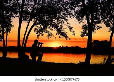 Silhouette of a photografer