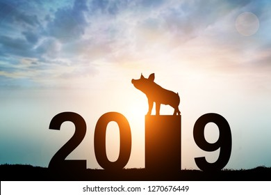 silhouette pig in 2019 text for happy New Year concept