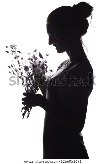Silhouette Pof Beautiful Girl Bouquet Dry Stock Photo (Edit Now