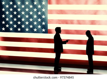 Silhouette of a politician blaming other on american flag background
