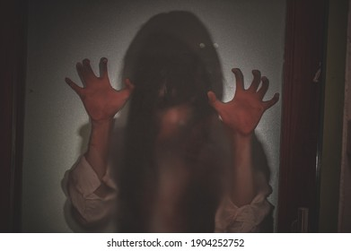 Silhouette Portrait asian woman make up ghost,Scary horror scene for background,Halloween festival concept,Ghost movies poster