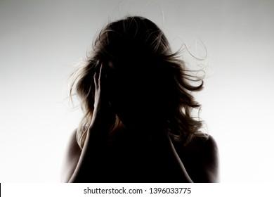 silhouette portrait of a beautiful caucasian girl