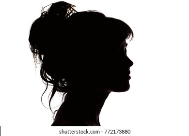 silhouette portrait of beautiful profile of happy woman face with hairstyle on white isolated background with wavy gathered hair, concept beauty and fashion