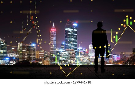 The silhouette portraitof businessman on the roof with financial chart state blend in effect .
