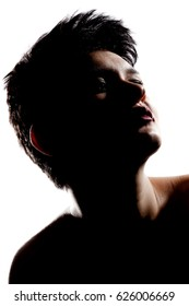 silhouette portrait of a girl with short hair