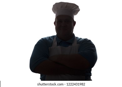 silhouette portrait of a good-natured man in cooker clothes , chef fold hands on his chest on white isolated background, concept profession and food industry