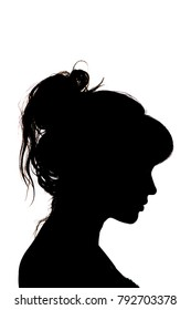 silhouette portrait of sad beautiful profile of female head with hairstyle on white isolated background with wavy gathered hair, concept beauty and fashion