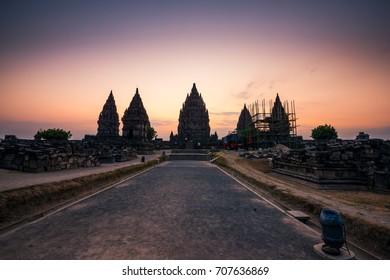 Silhouette of Prambanan Temple seen during Sunset