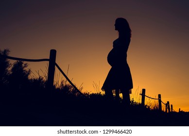 Silhouette of pregnant woman at sunset with solid color background.