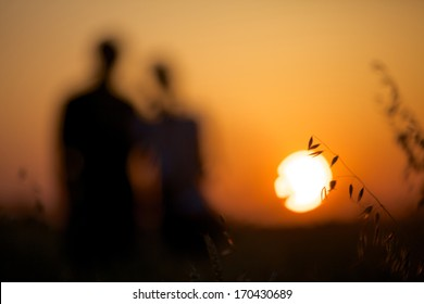 Silhouette of Pretty couple in the meadow on sunset background