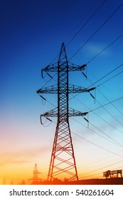 silhouette pylon, tower of high voltage electrical