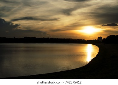 Silhouette reflection sunset with lake