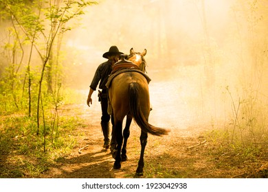 The silhouette of  rider as cowboy outfit costume with a horses and a gun held in the hand against smoke and sunset background