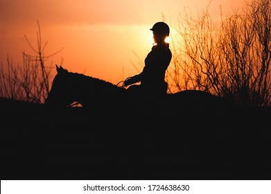 Silhouette of a rider in equestrian equipment and helmet riding a horse on a sunset background