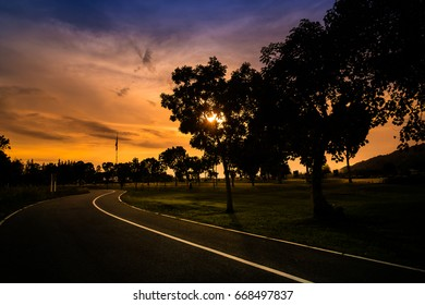 Silhouette Road at Sunset