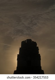 Silhouette of the roof comb of a temple at Tikal National Park Guatemala