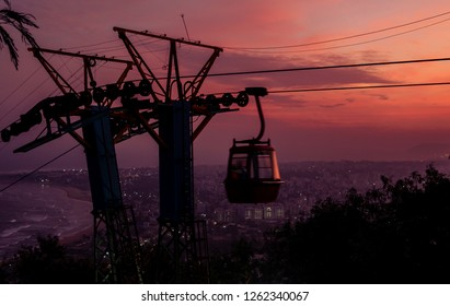 Silhouette of Ropeway of Kailasagiri Park at Vizag overlooking the Visakhapatnam city.