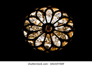 silhouette of rose window in Amber in Sansepolcro, Arezzo, Tuscany, Italy