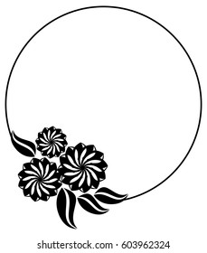 Silhouette round frame. Abstract black and white ornament with decorative flowers. Copy space. Raster clip art.