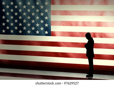 Silhouette of a sad politician on american flag background with vintage look